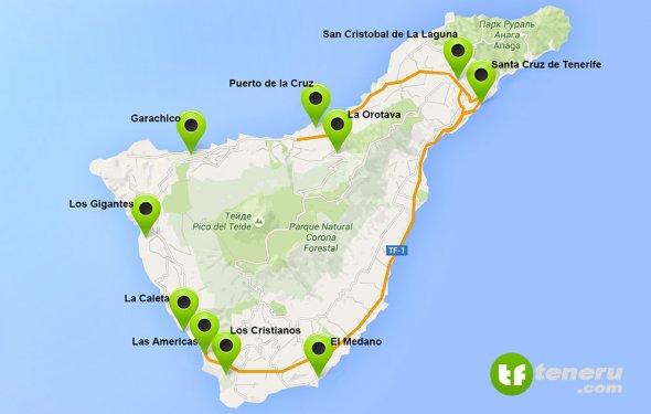 Города Тенерифе на карте