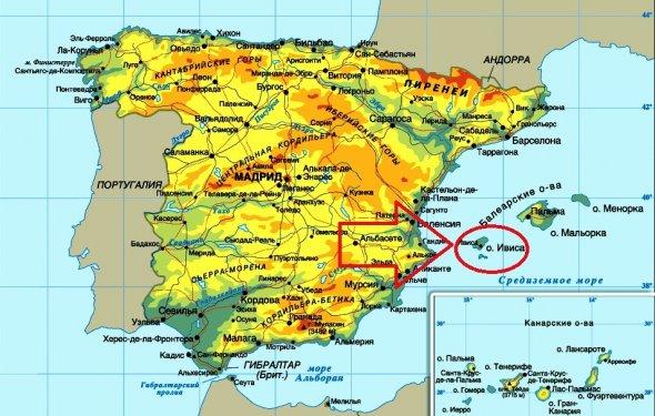 Ибица на карте Испании