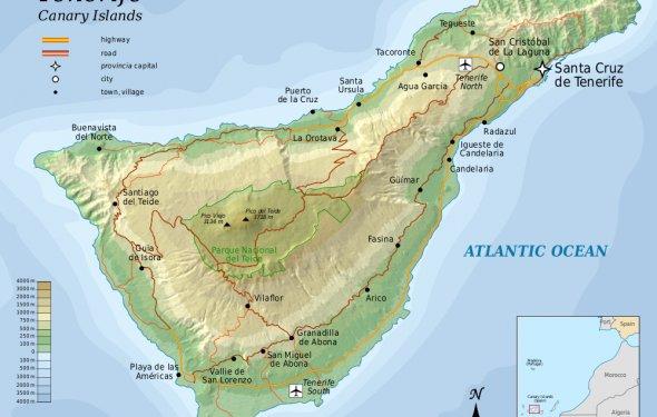 Карта Тенерифе с дорогами и